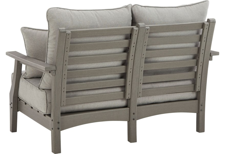 Ashley Signature Design Visola Loveseat With Cushion Rooms And Rest Outdoor Loveseats