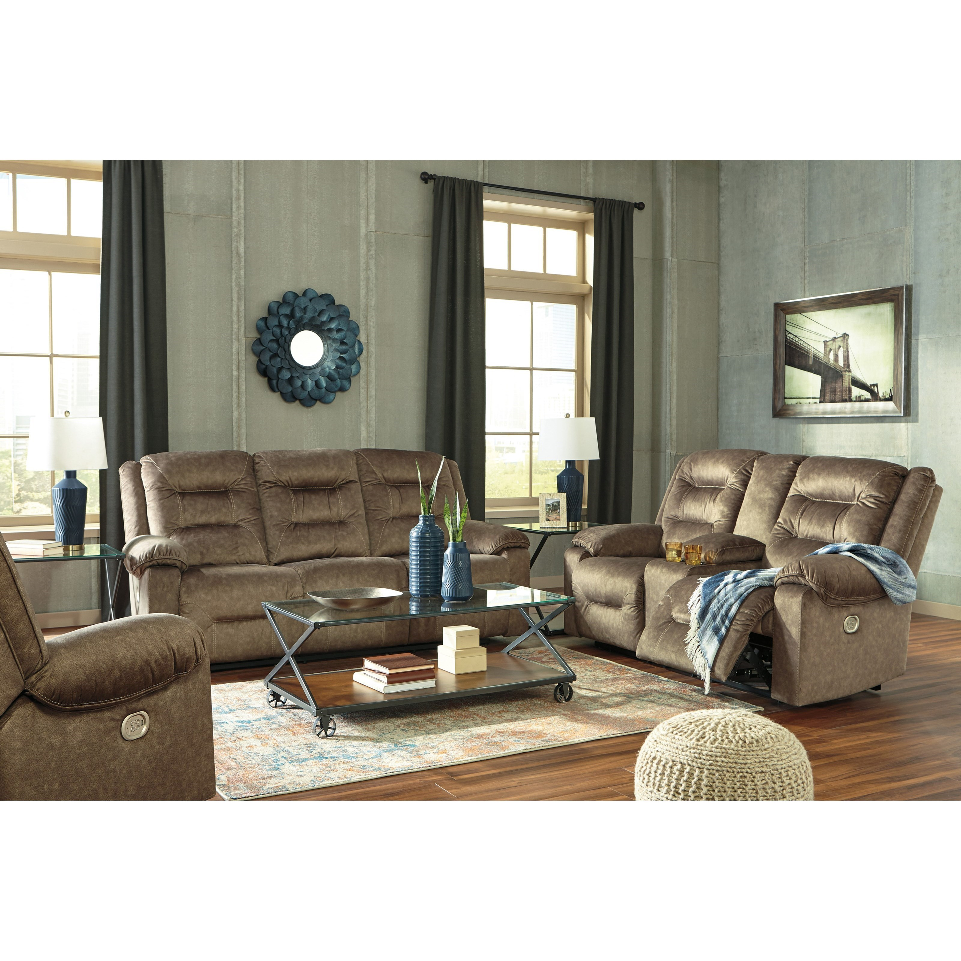 Signature Design By Ashley Waldheim Reclining Living Room Group   Royal  Furniture   Reclining Living Room Groups