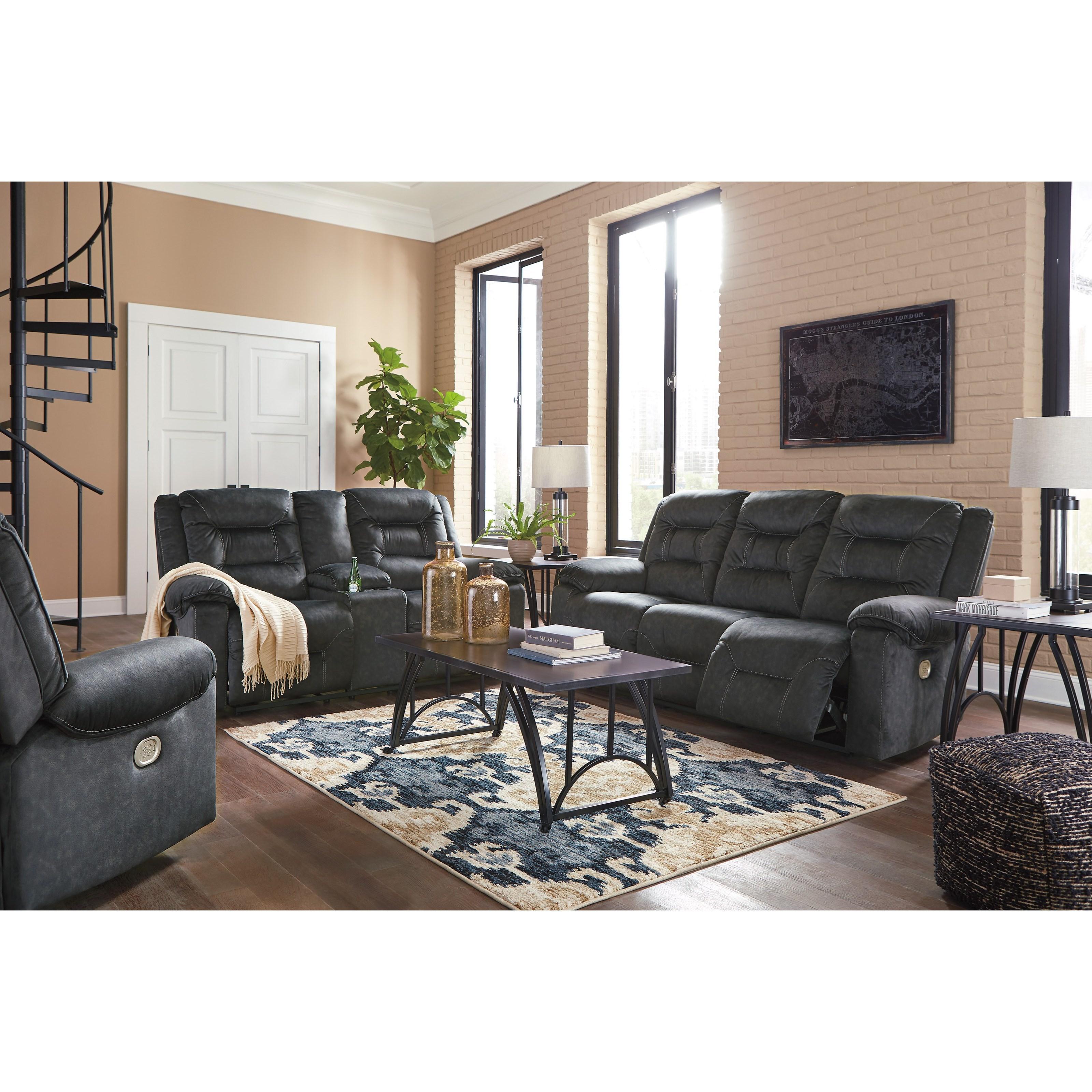 ... Design By Ashley Waldheim Reclining Living Room Group. Shown In: Gray  Waldheim Gray