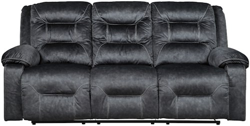 Signature Design by Ashley Waldheim Power Reclining Sofa w/ Adjustable Headrests