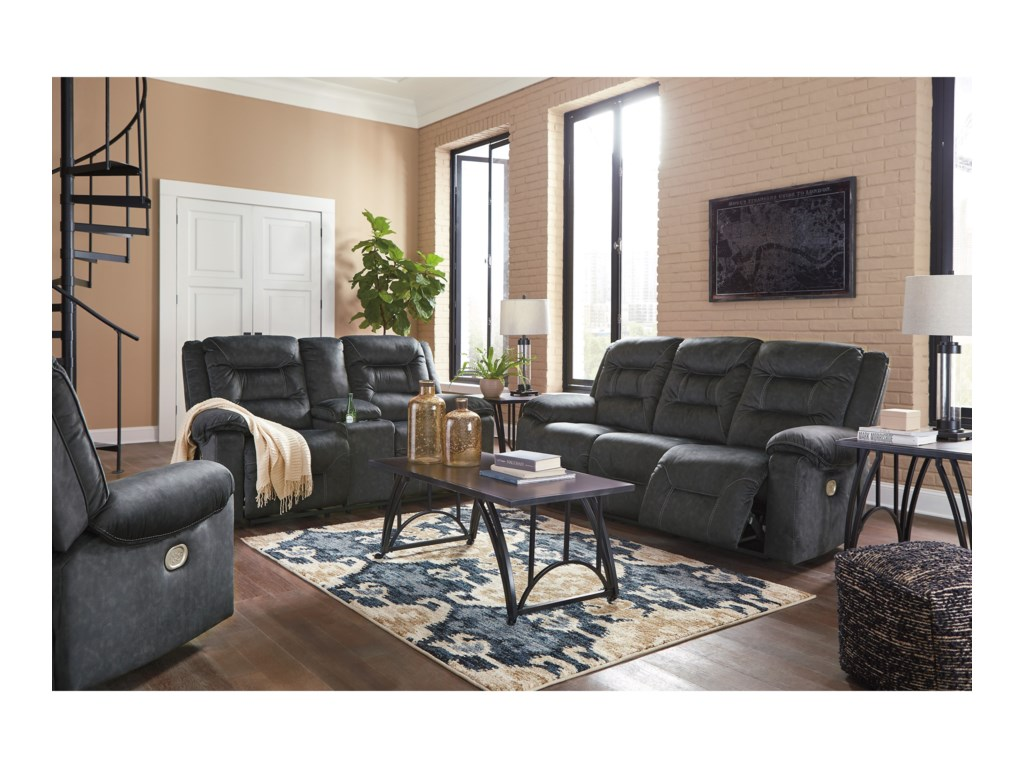 Signature Design by Ashley WaldheimPower Reclining Sofa w/ Adjustable Headrests