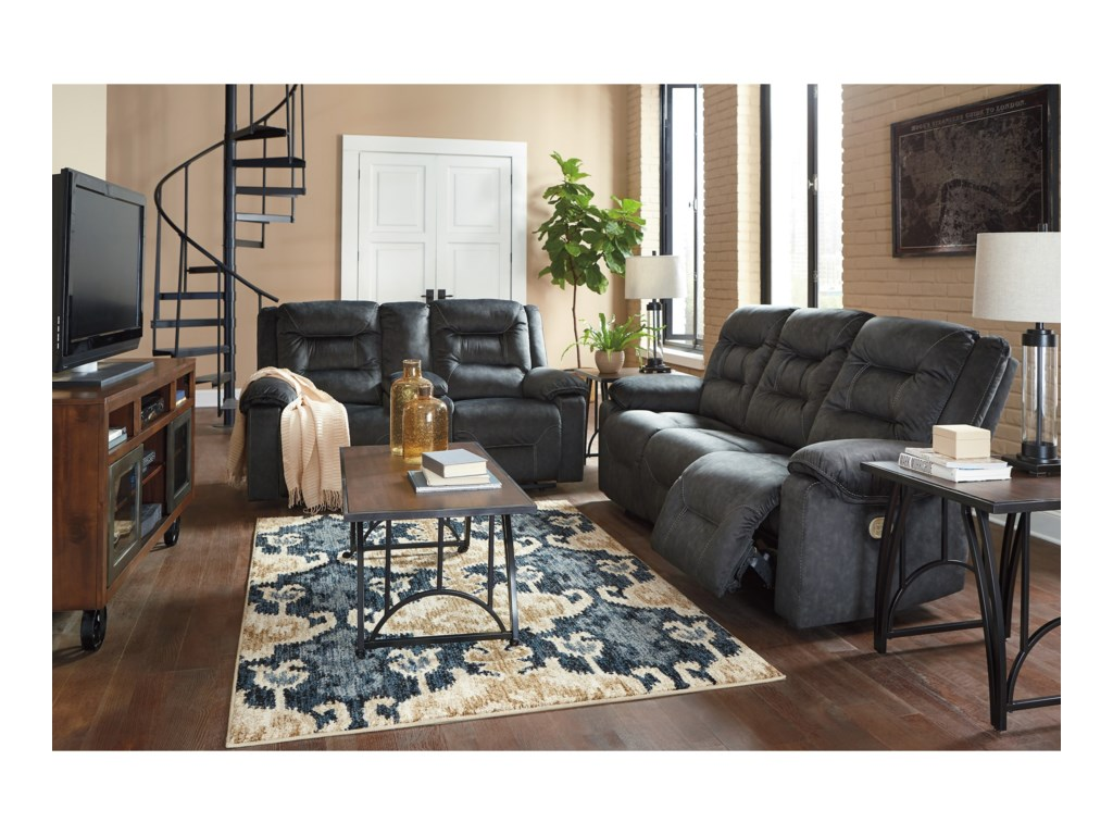Ashley (Signature Design) WaldheimPower Reclining Sofa w/ Adjustable Headrests