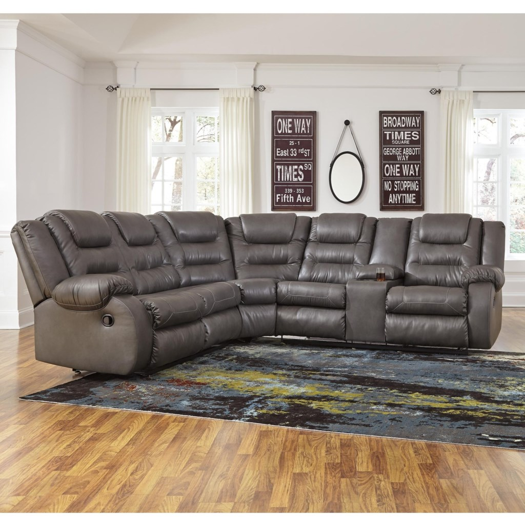 Benchcraft Walgast Casual Faux Leather L Shaped Sectional Virginia
