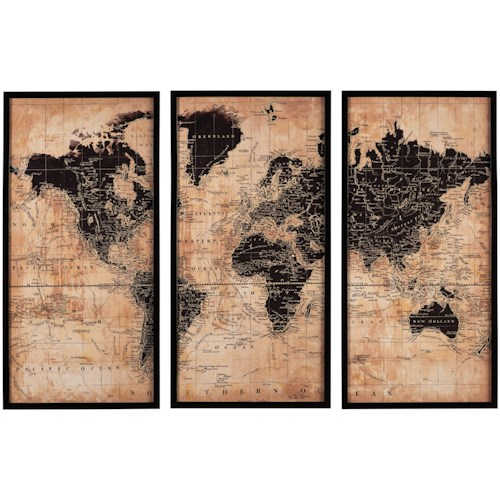 Signature Design by Ashley Wall Art Pollyanna Tan/Black World Map Wall Art Set