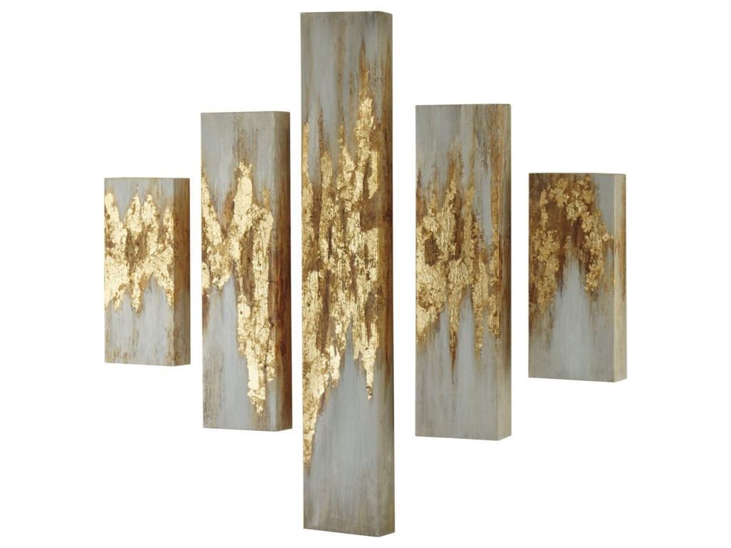 Signature Design by Ashley Wall ArtDevlan Gold Finish/White Wall Art Set