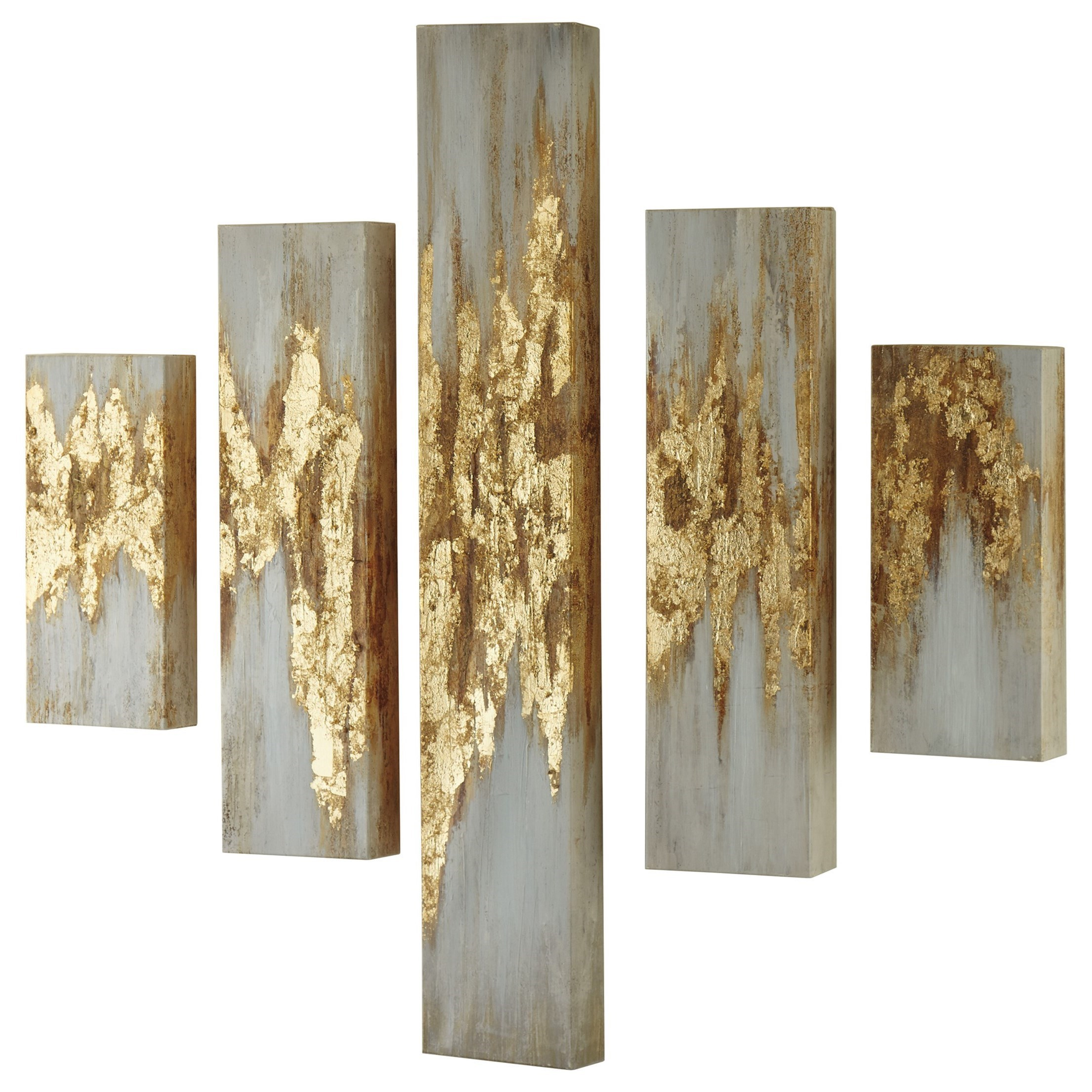 Signature Design By Ashley Wall ArtDevlan Gold Finish/White Wall Art Set ...