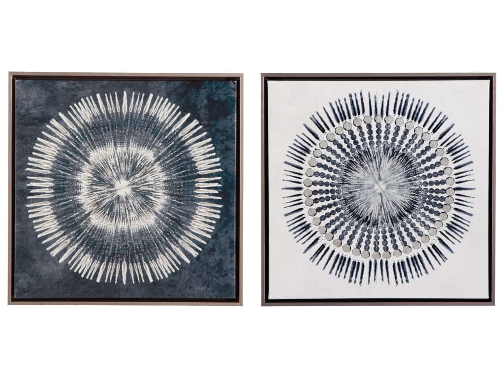 Signature Design by Ashley Wall ArtMonterey Blue/White Wall Art Set