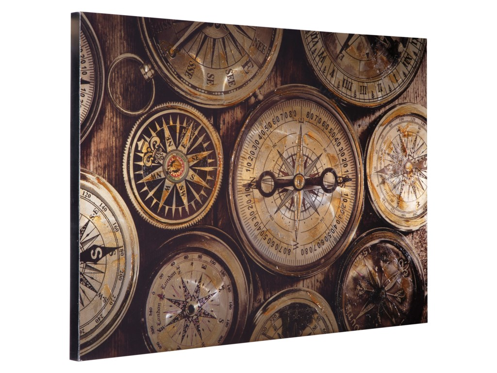Signature Design by Ashley Wall ArtJeaselle Compass Brown/Black Wall Art