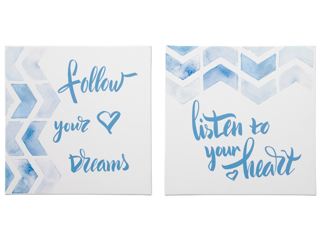 Signature Design by Ashley Wall ArtEllis Teal/White Wall Art Set