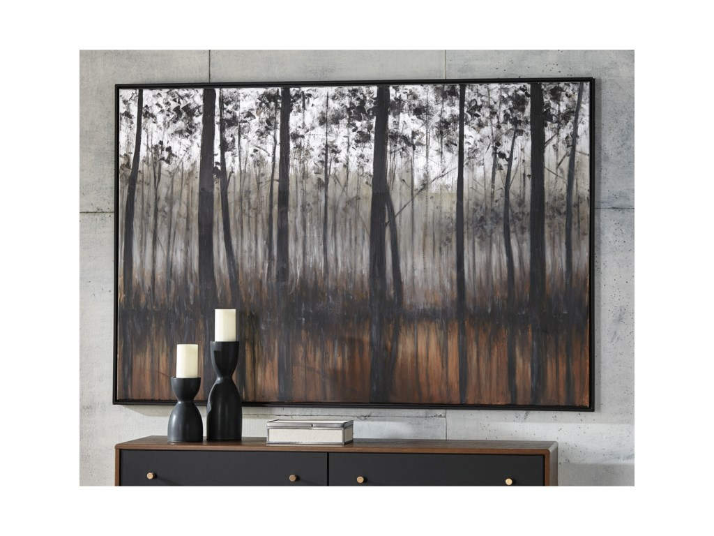 Signature Design by Ashley Wall ArtPhilyra Black/Orange/Silver Wall Art