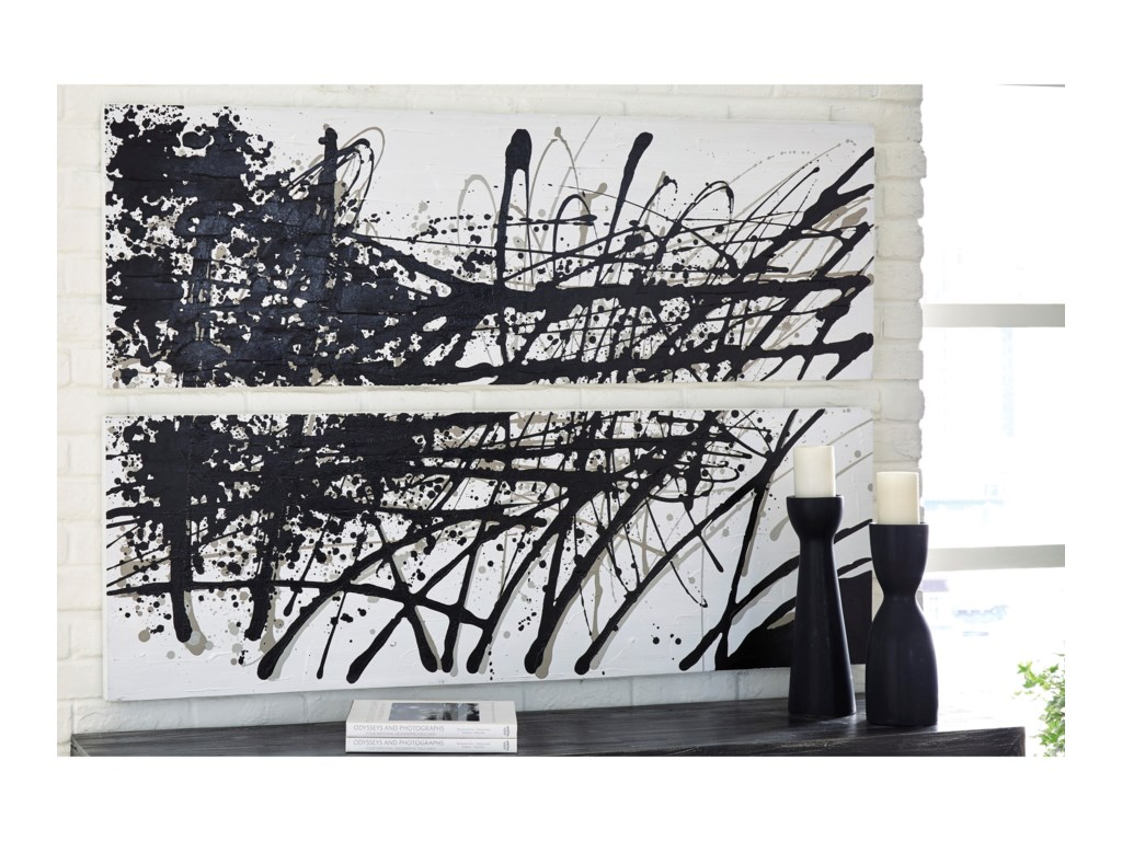 Signature Design by Ashley Wall ArtJace Black/Gray/White Wall Art Set