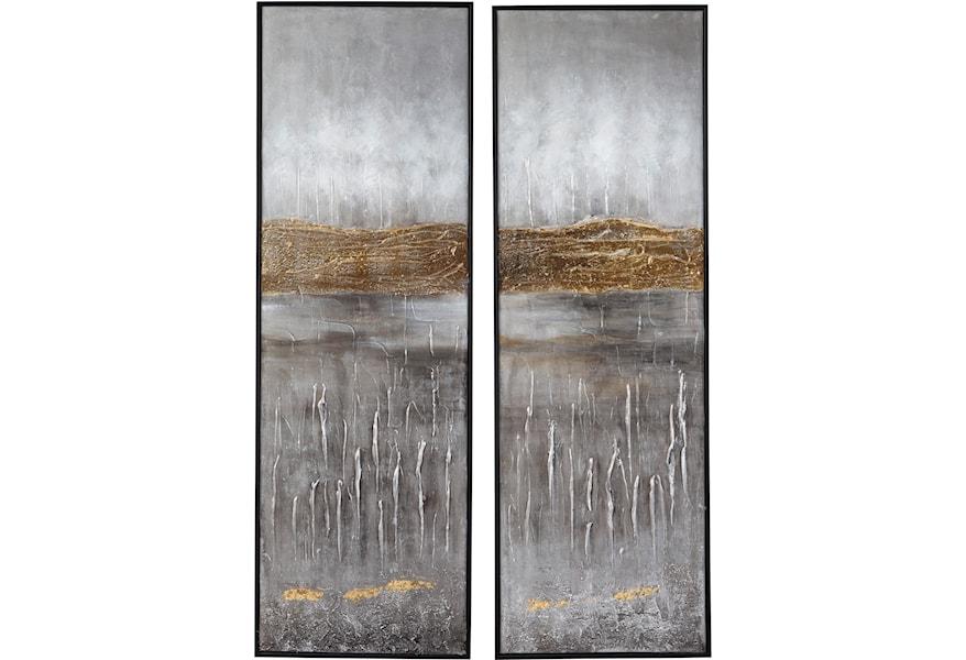 Signature Wall Art Aniyah Black Gold White Set Walker S Furniture Prints Paintings