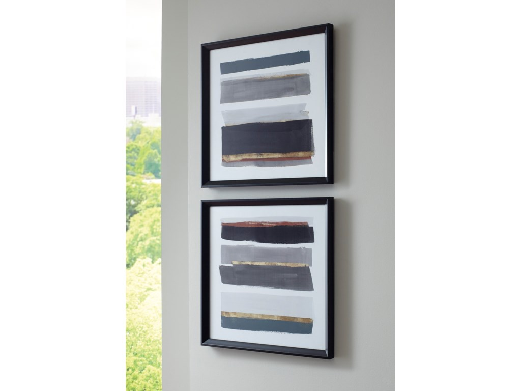 Signature Design by Ashley Wall ArtHallwood Black/White/Gray Wall Art Set
