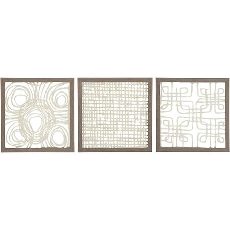3-Piece Odella Cream/Taupe Wall Decor Set