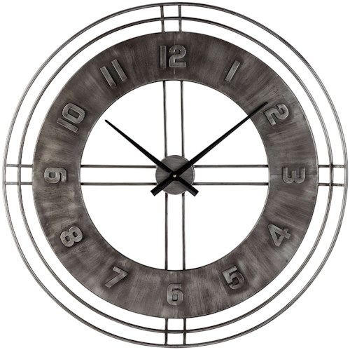 Signature Design by Ashley Wall Art Ana Sofia Antique Gray Wall Clock
