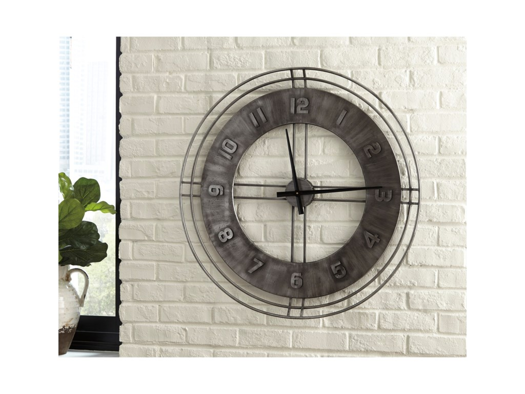 Signature Design by Ashley Wall ArtAna Sofia Antique Gray Wall Clock