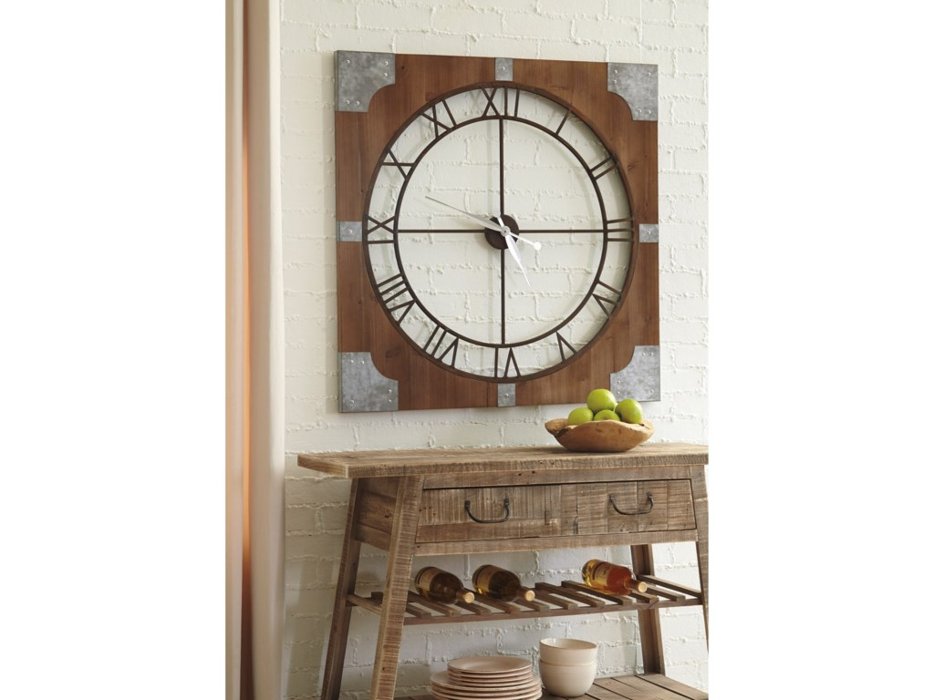 Signature Design by Ashley Wall ArtPalila Brown/Silver Finish Wall Clock