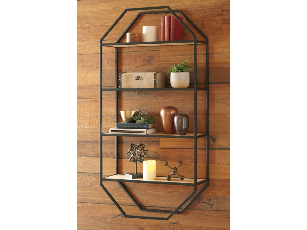 Signature Design by Ashley Wall ArtElea Black/Natural Wall Shelf