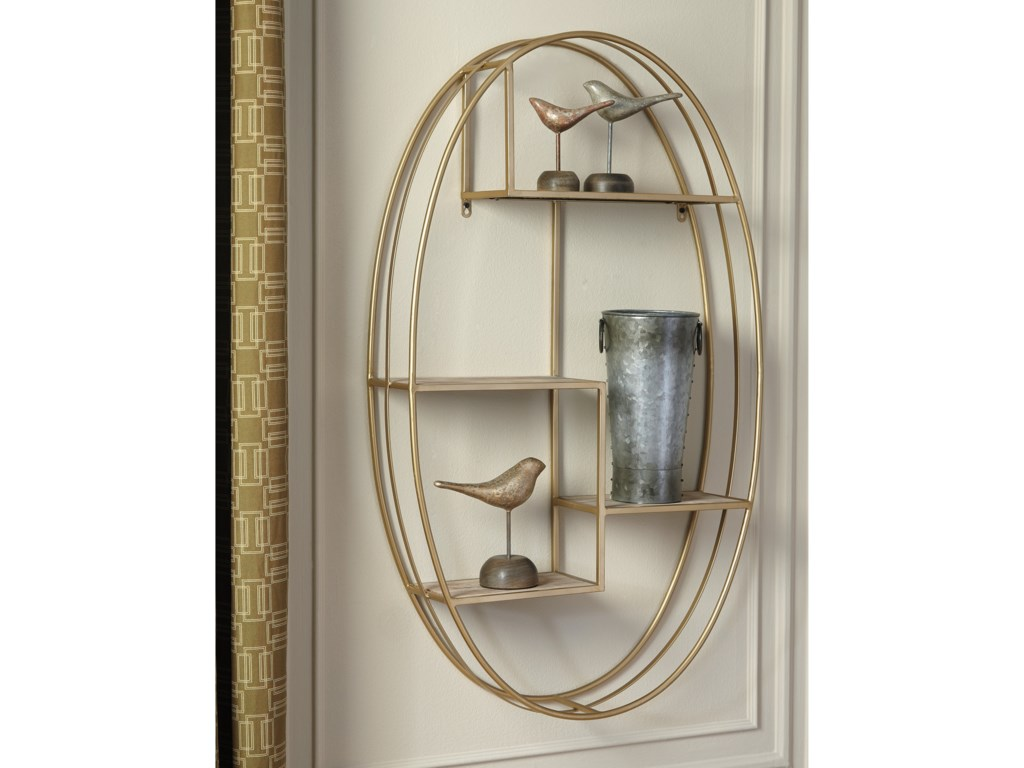 Signature Design by Ashley Wall ArtElettra Natural/Gold Finish Wall Shelf