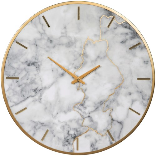 Signature Design by Ashley Wall Art Jazmin Gray/Gold Finish Faux Marble Wall Clock