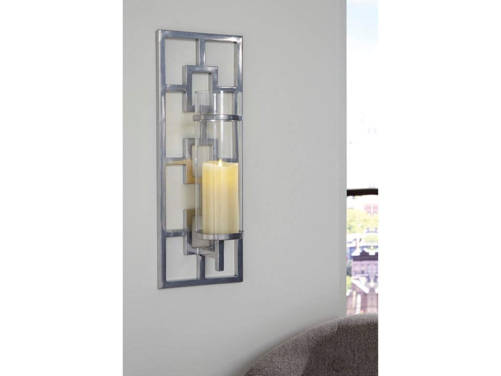Signature Design by Ashley Wall ArtBrede Silver Finish Wall Sconce