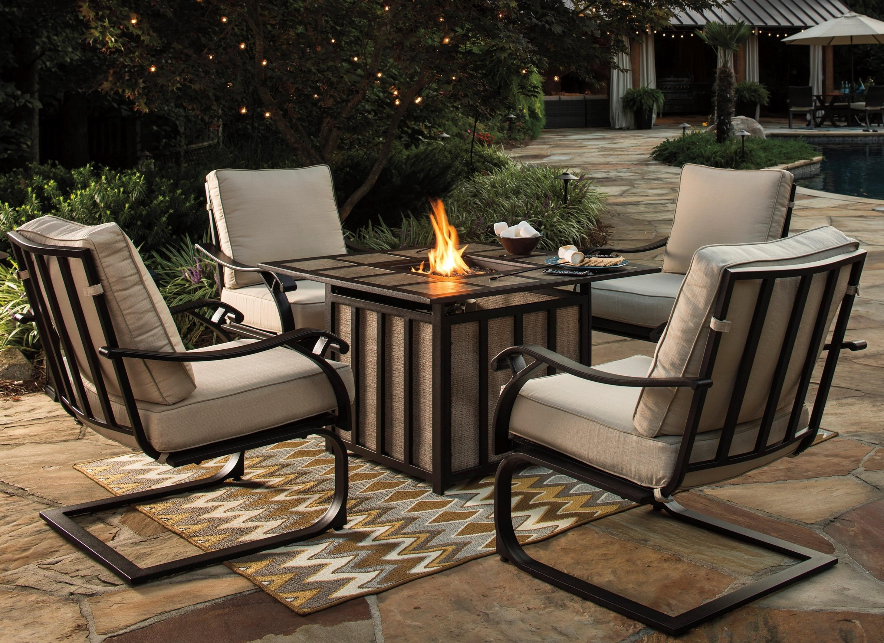 Elegant Signature Design By Ashley Wandon Outdoor 5 Piece Fire Pit Table Set   John  V Schultz Furniture   Outdoor Conversation Sets/Outdoor Chat Sets