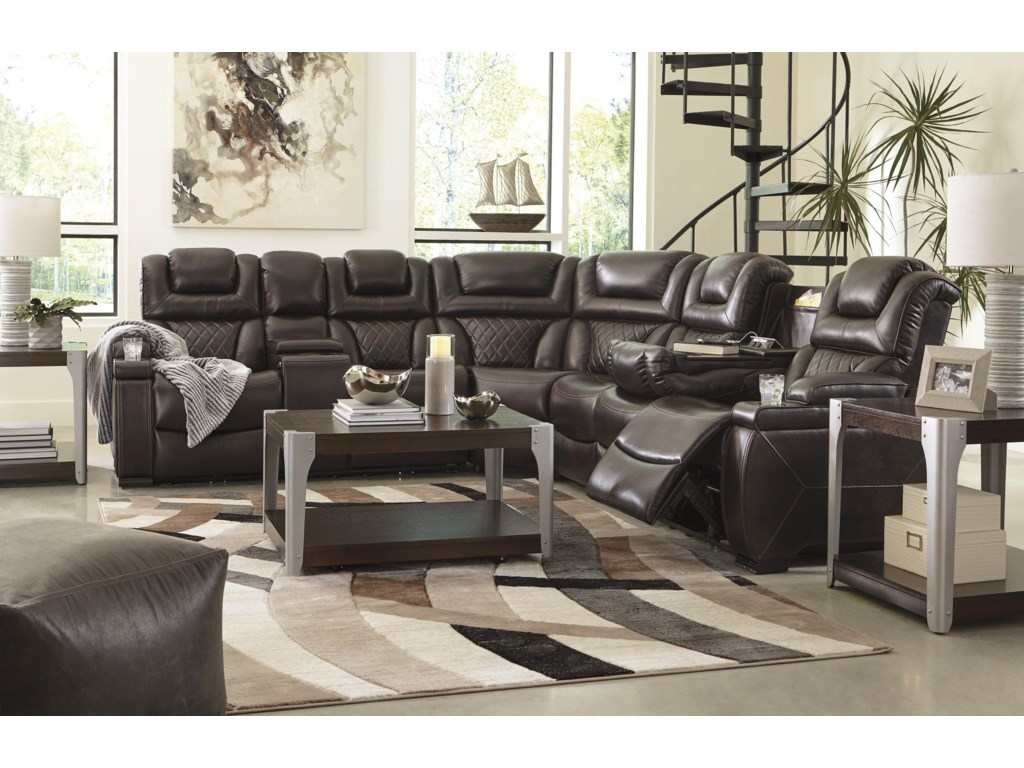 Signature Design by Ashley Warnerton3 PC Power Headrest Sectional and Recliner S