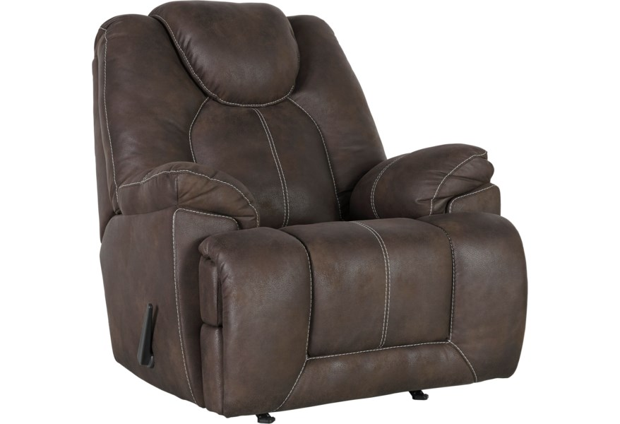 Ashley Signature Design Warrior Fortress Faux Leather Rocker Recliner Johnny Janosik Recliners