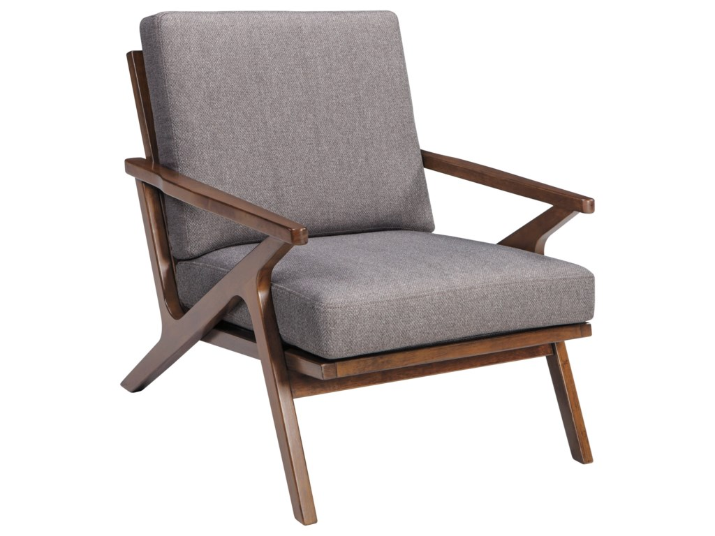 signature design by ashley wavecove a3000032 mid century wood frame accent chair with angled arms del sol furniture exposed wood chairs - Wood Frame Accent Chairs