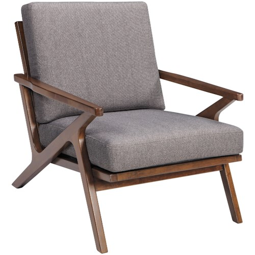 Signature Design by Ashley Wavecove Mid-Century Wood Frame Accent Chair with Angled Arms