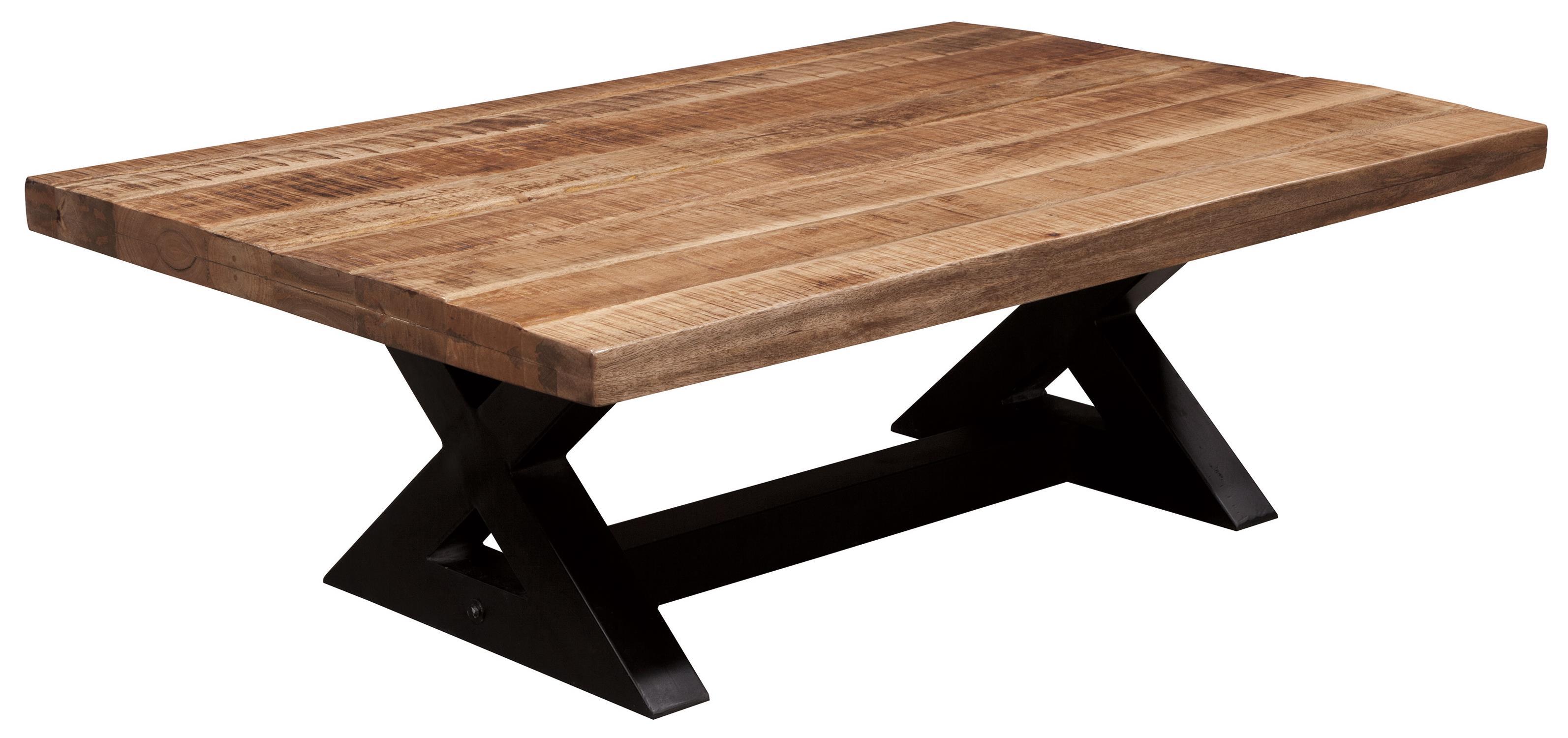 Rectangular Cocktail Table with Mango Wood Top & Metal X-Braced Base