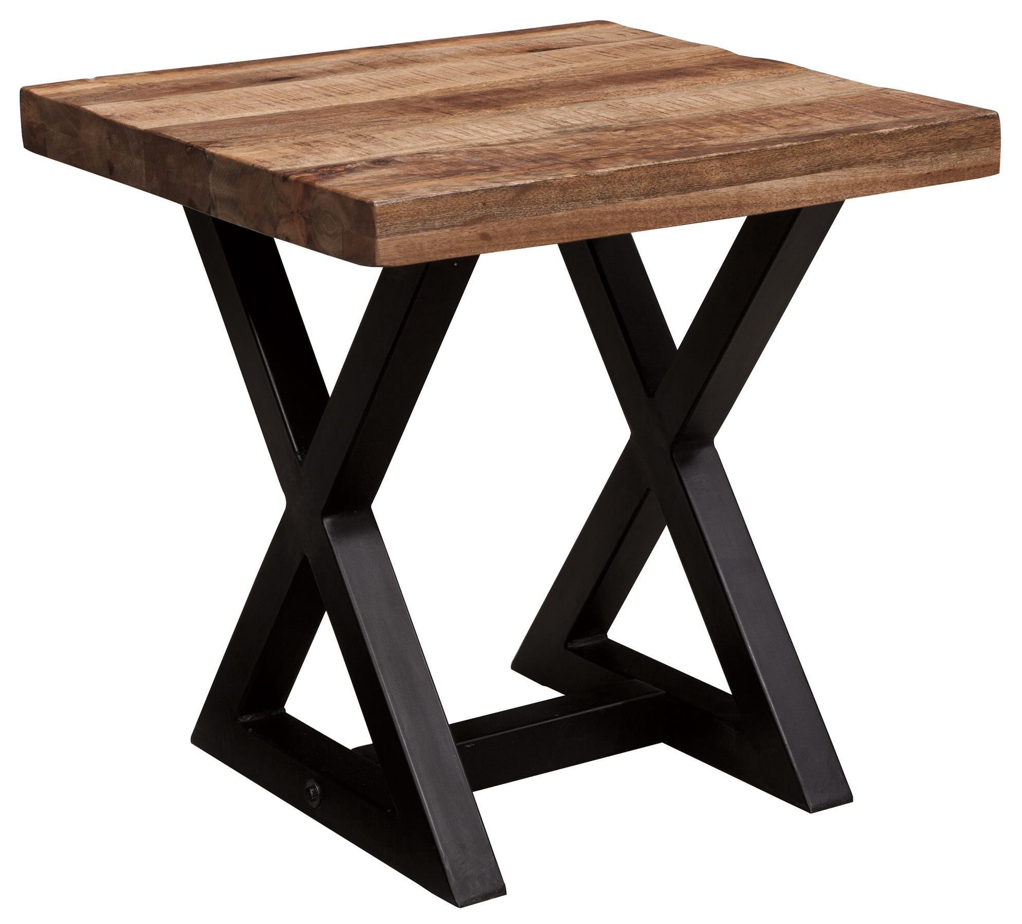 Signature Design By Ashley Weslin Square End Table With Mango Wood Top U0026  Metal X