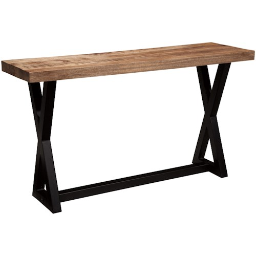 Signature Design by Ashley Wesling Sofa Table with Mango Table Top & Metal X-Braced Base