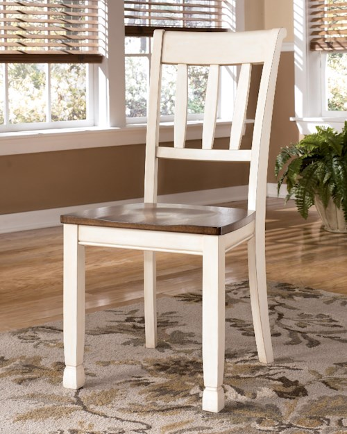Signature Design by Ashley Whitesburg Dining Room Side Chair w/ Two-Tone Finish & Slat Back