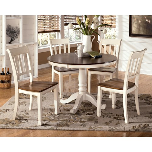 Signature Design by Ashley Whitney 5-Piece Two-Tone Cottage Round Table Set - Signature Design By Ashley Whitney 5-Piece Two-Tone Cottage Round