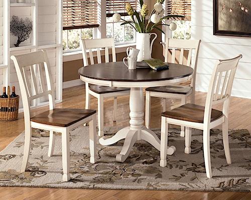 Signature Design by Ashley Whitesburg 5-Piece Two-Tone Cottage Round Table Set
