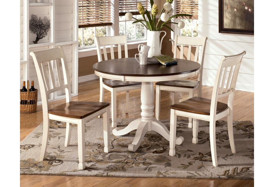 Whitesburg 5-Piece Two-Tone Cottage Round Table Set by Signature Design by  Ashley at Furniture and ApplianceMart
