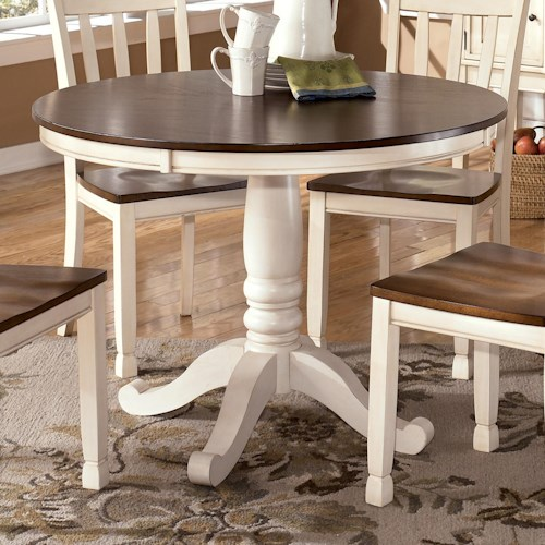 Signature Design by Ashley Whitesburg Two-Tone Round Table with Pedestal Base