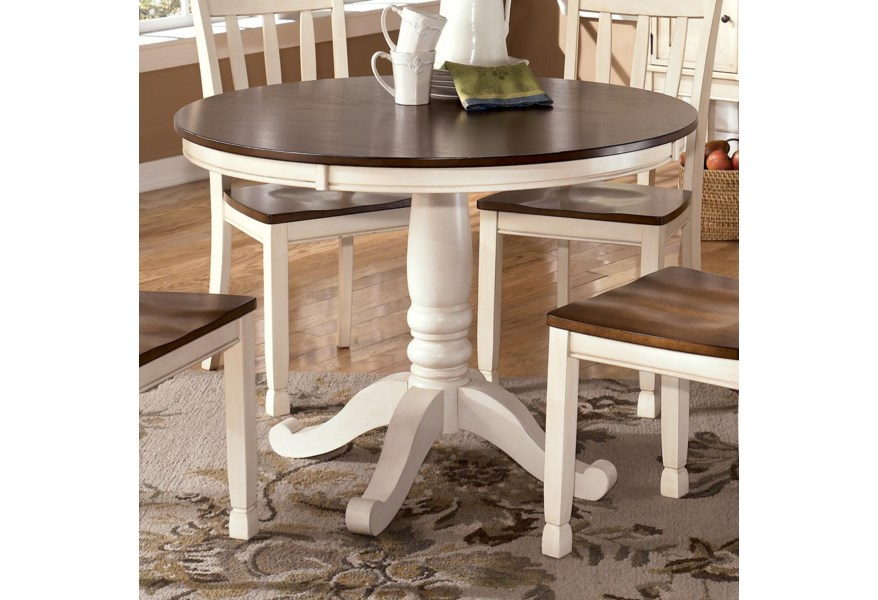 Whitesburg Two Tone Round Table With Pedestal Base By Signature Design By Ashley At Sparks Homestore
