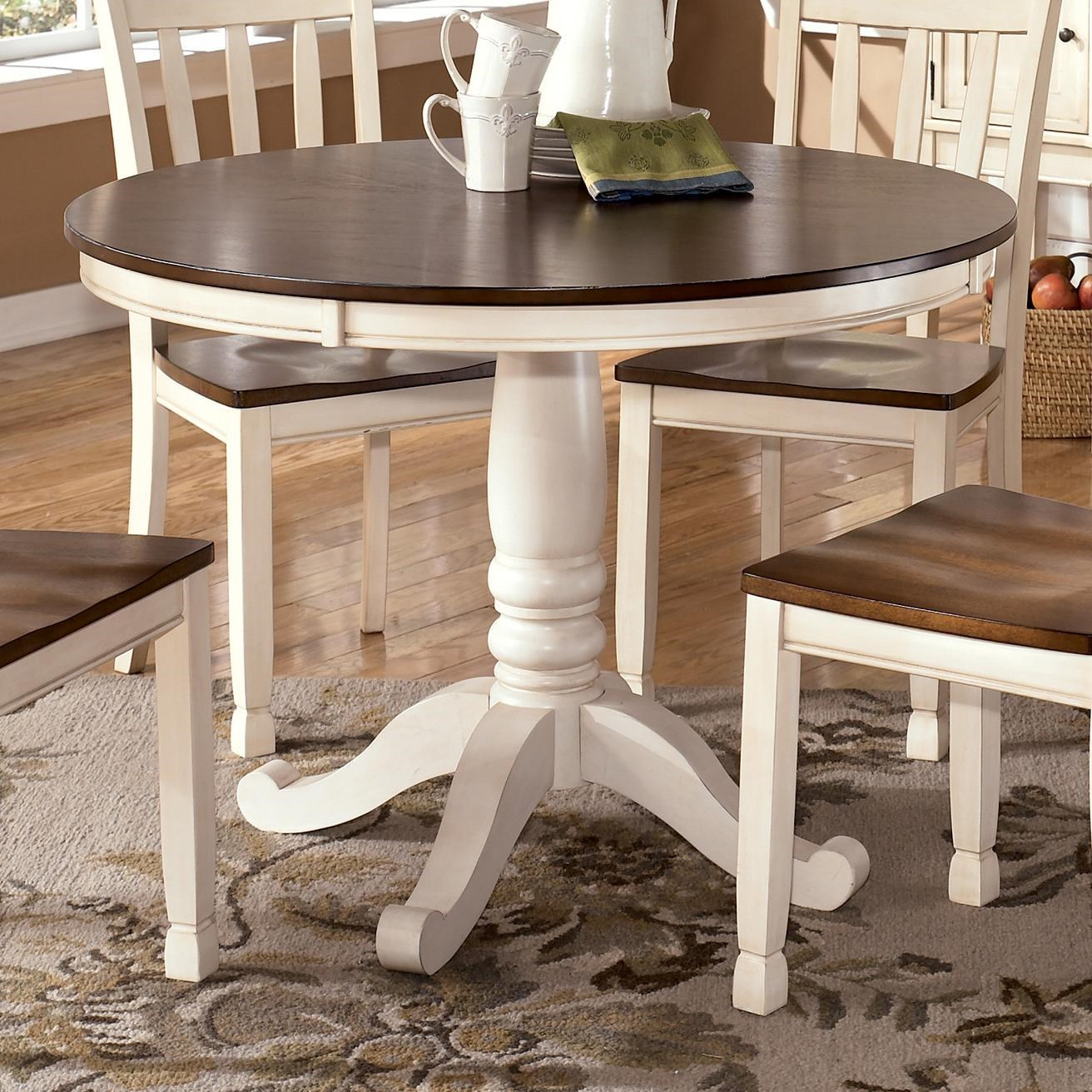 Signature Design By Ashley Whitesburg Two Tone Round Table With Pedestal  Base