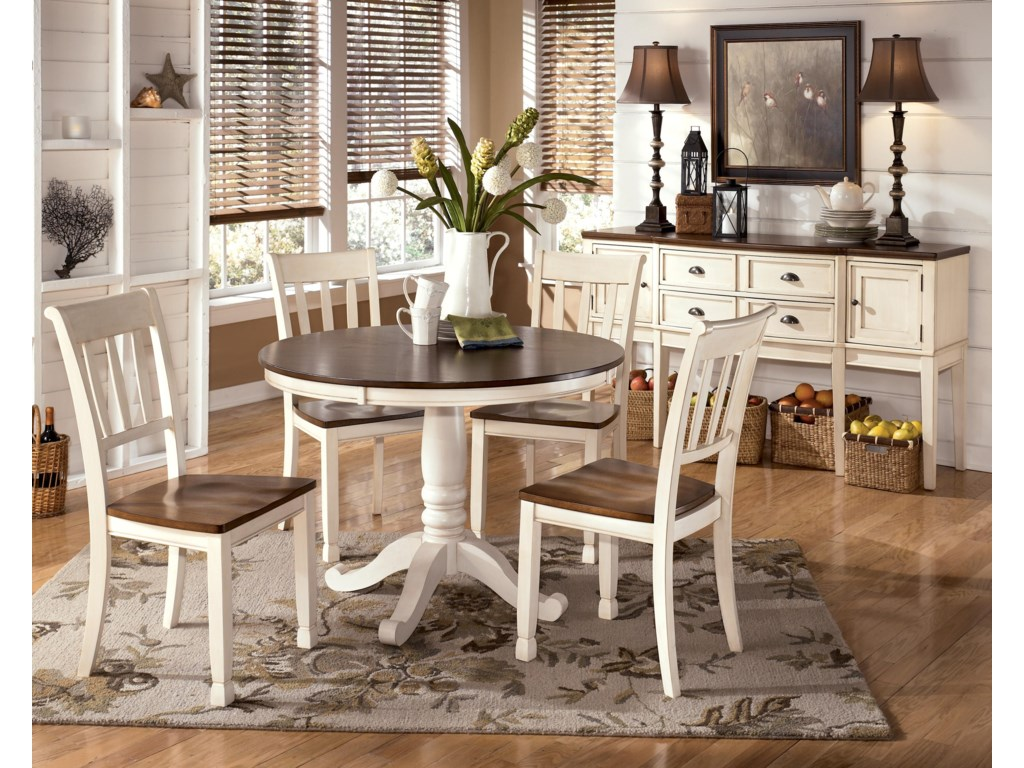Shown with 4 Slat Back Side Chairs and Server