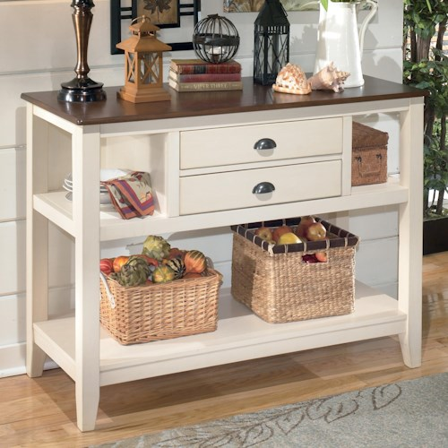 signature design by ashley whitesburg two tone dining room server - Dining Room Server Furniture