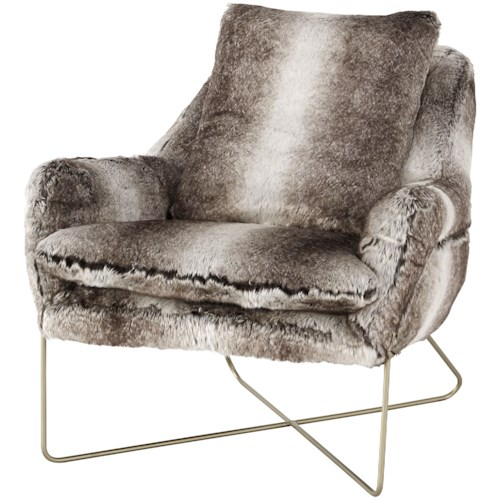 Signature Design by Ashley Wildau Faux Fur Accent Chair with Gold Finished X Base