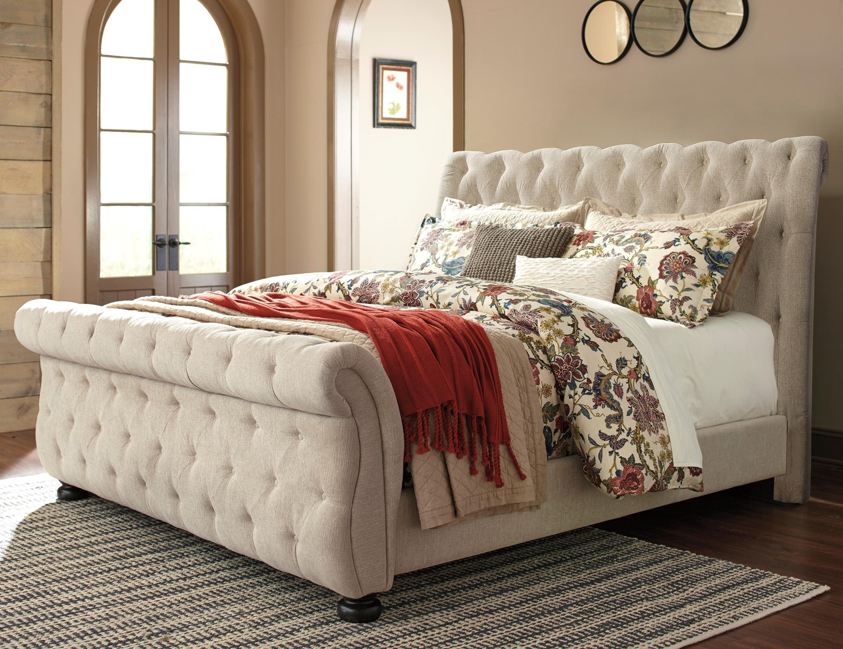 - Signature Design By Ashley Willenburg King Upholstered Sleigh Bed
