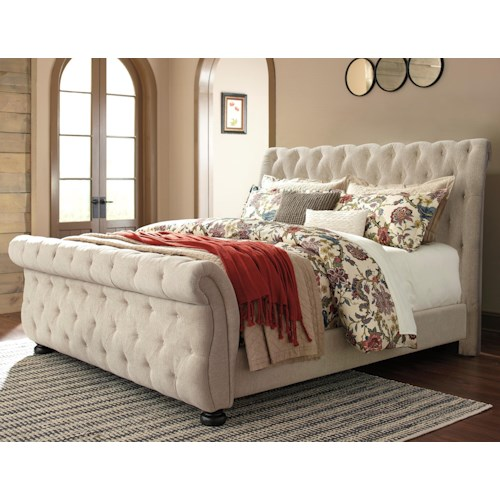 Signature Design by Ashley Willenburg Queen Upholstered Sleigh Bed with Tufting