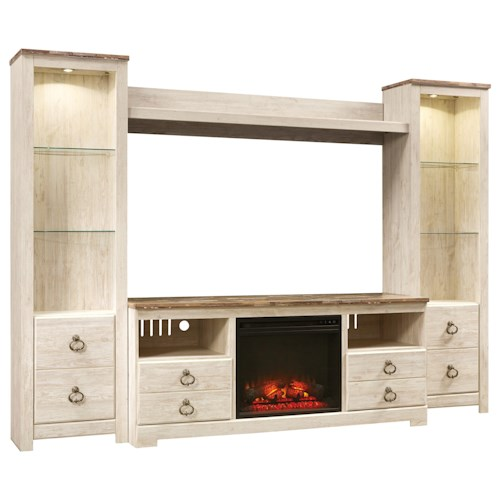 Signature Design By Ashley Willowton Entertainment Center With Fireplace Insert Wayside