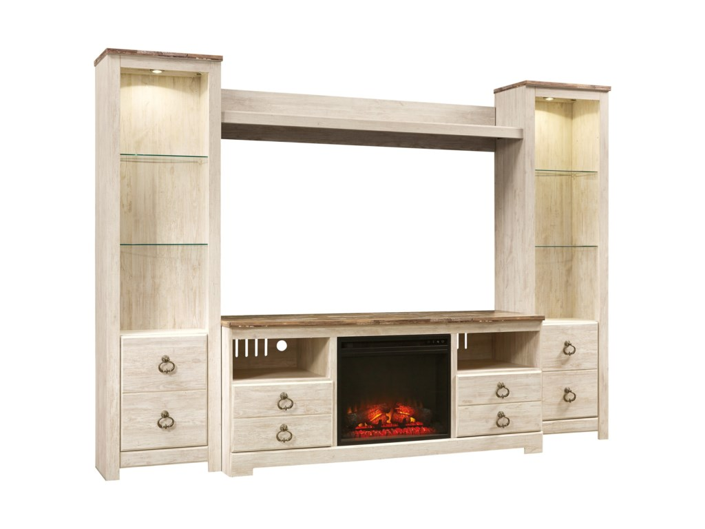 Ashley (Signature Design) WillowtonEntertainment Center with Fireplace Insert