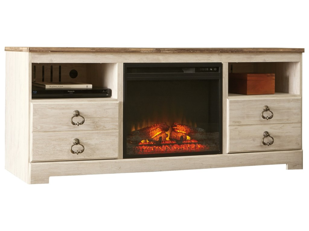 Signature Design by Ashley WillowtonLarge TV Stand with Fireplace Insert