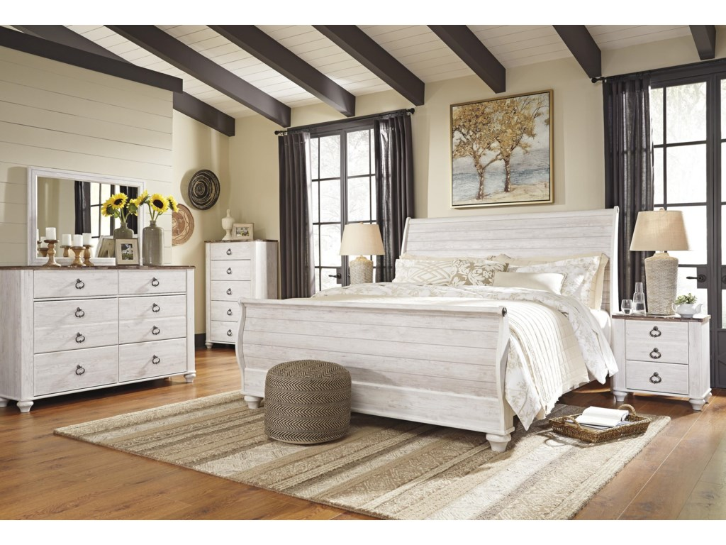 Signature Design by Ashley WillowtonQueen Sleigh Bed Package