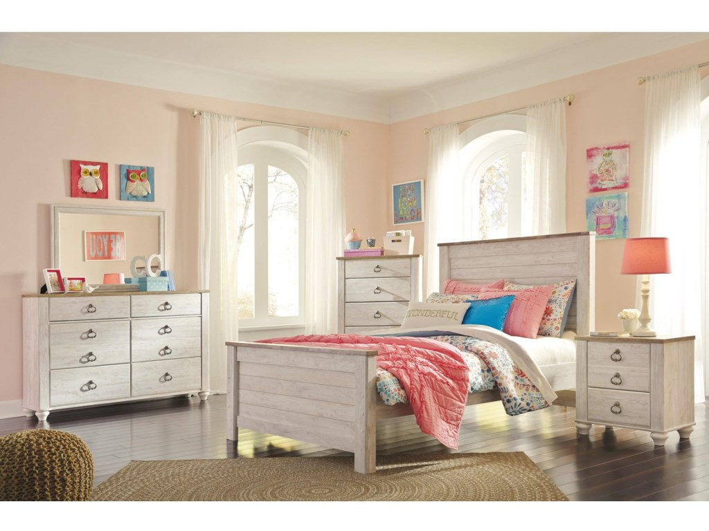 Signature Design By Ashley Willowton Twin 5 Piece Bedroom Group Royal Furniture Bedroom Groups